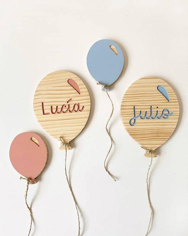 Globos de madera personalizados con el nombre